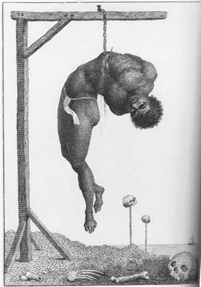 William Blake after John Stedman, Black slave hung from the ribs