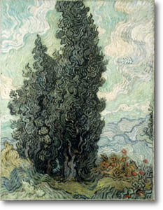 Vincent van Gogh or the brother of Otto Wacker, Cypresses. Private collection