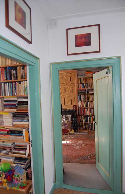 Entrance to Gary Schwartz's study, with work by Ritsaert ten Cate